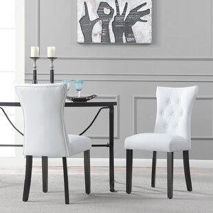 Elegant Tufted Design Faux Leather Upholstered Side Chair (Set of 2)
