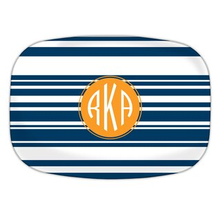 Block Island Circle Monogram Melamine Plate by Dabney Lee Discount