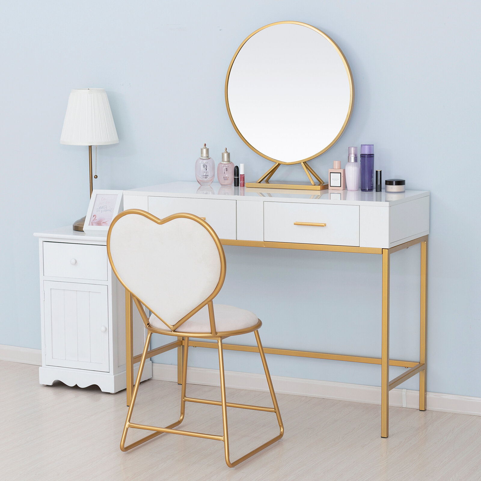 Mercer41 Barboza Table Vanity Set With Stool And Mirror Reviews