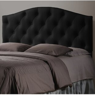 Top Myra Black Scalloped Full Upholstered Panel Headboard by Wholesale Interiors