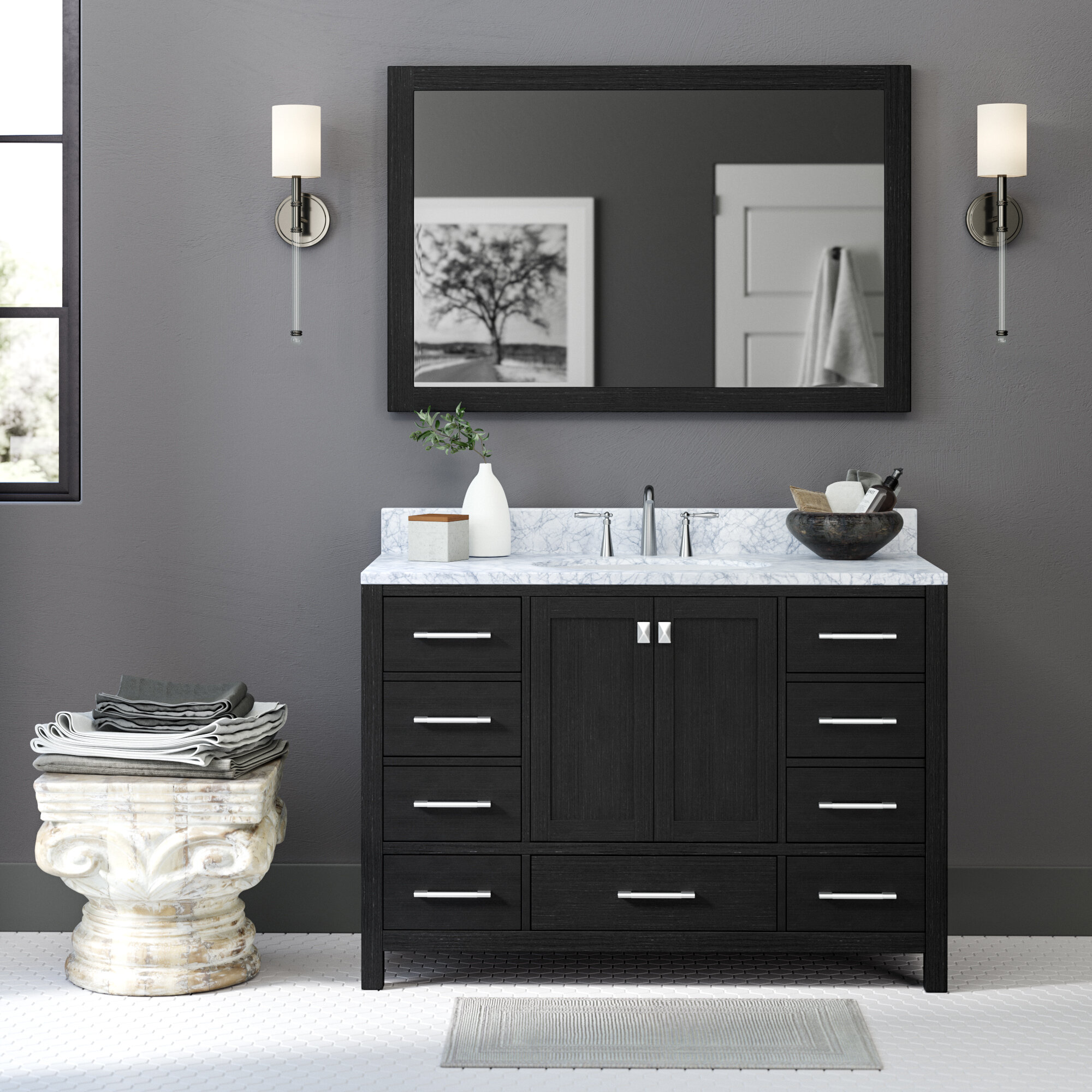 Single Bathroom Vanity Set With Mirror