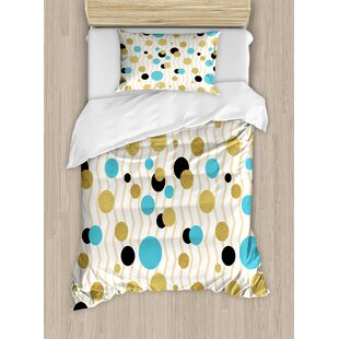 East Urban Home Abstract Trippy Geometric Circles Dotted Rounds on Zig Zag Lined Background Print Duvet Set
