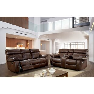 Helle Contemporary Leather Manual Wall Hugger Reclining Configurable Living Room Set by Red Barrel Studio