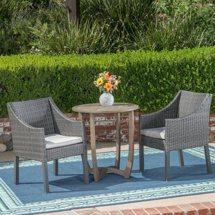 Britton 3 Piece Bistro Set with Cushions by Wrought Studio