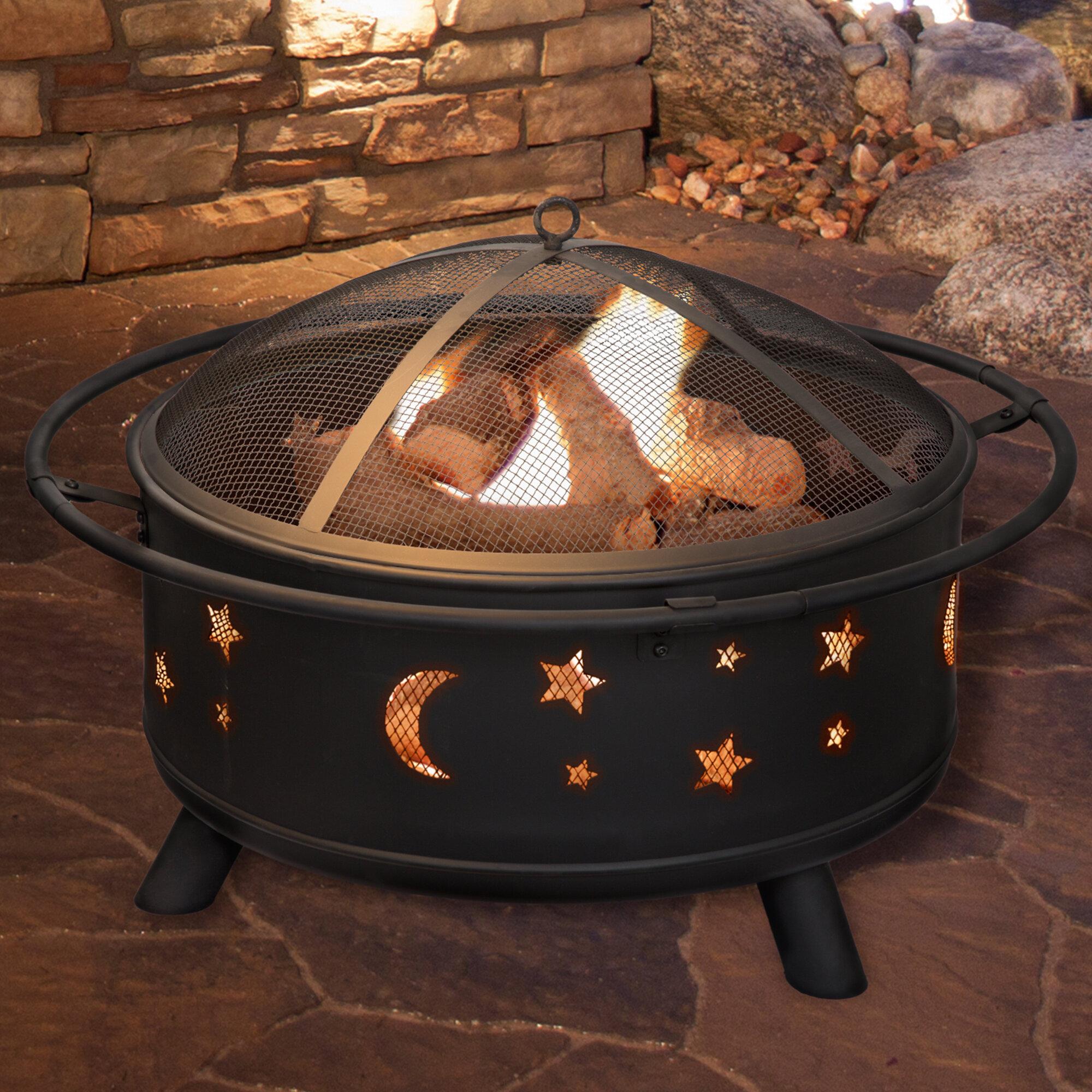 Modern Elegant Black Metal Steel Fire Pit w// Star Moon Mesh Lid Cover Heater BBQ