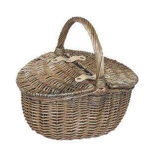 Double Lidded Small Oval Picnic Basket By Brambly Cottage