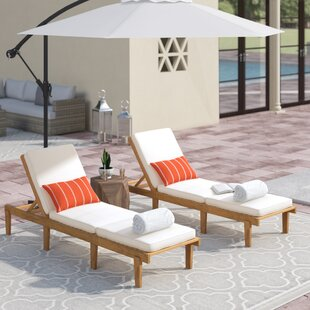 Ardsley Reclining Sun Lounger Set with Cushions (Set of 2)