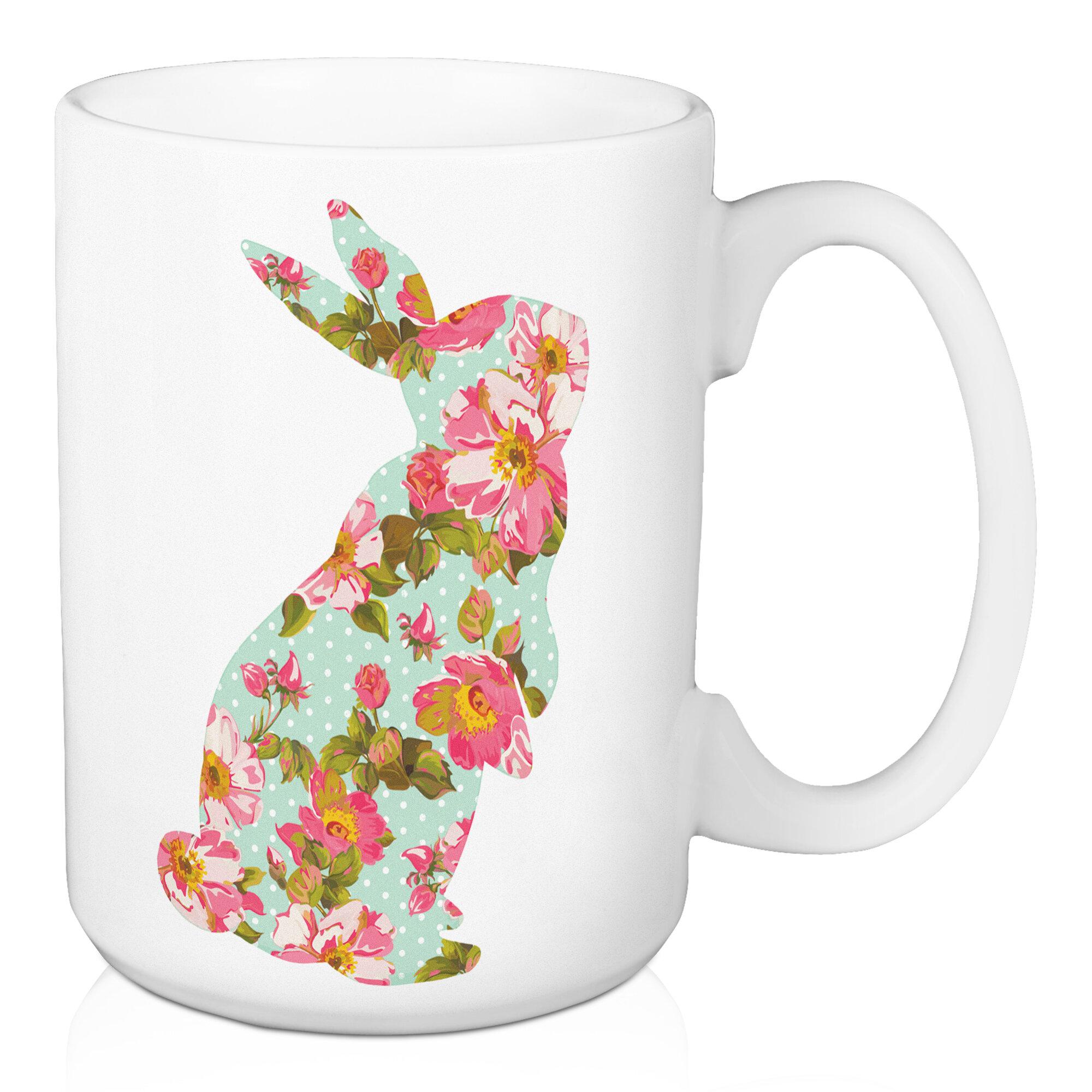 August Grove Choi Teal Standing Floral Bunny Coffee Mug Wayfair