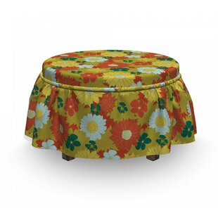 Chrysanthemum And Lily Ottoman Slipcover (Set Of 2) By East Urban Home