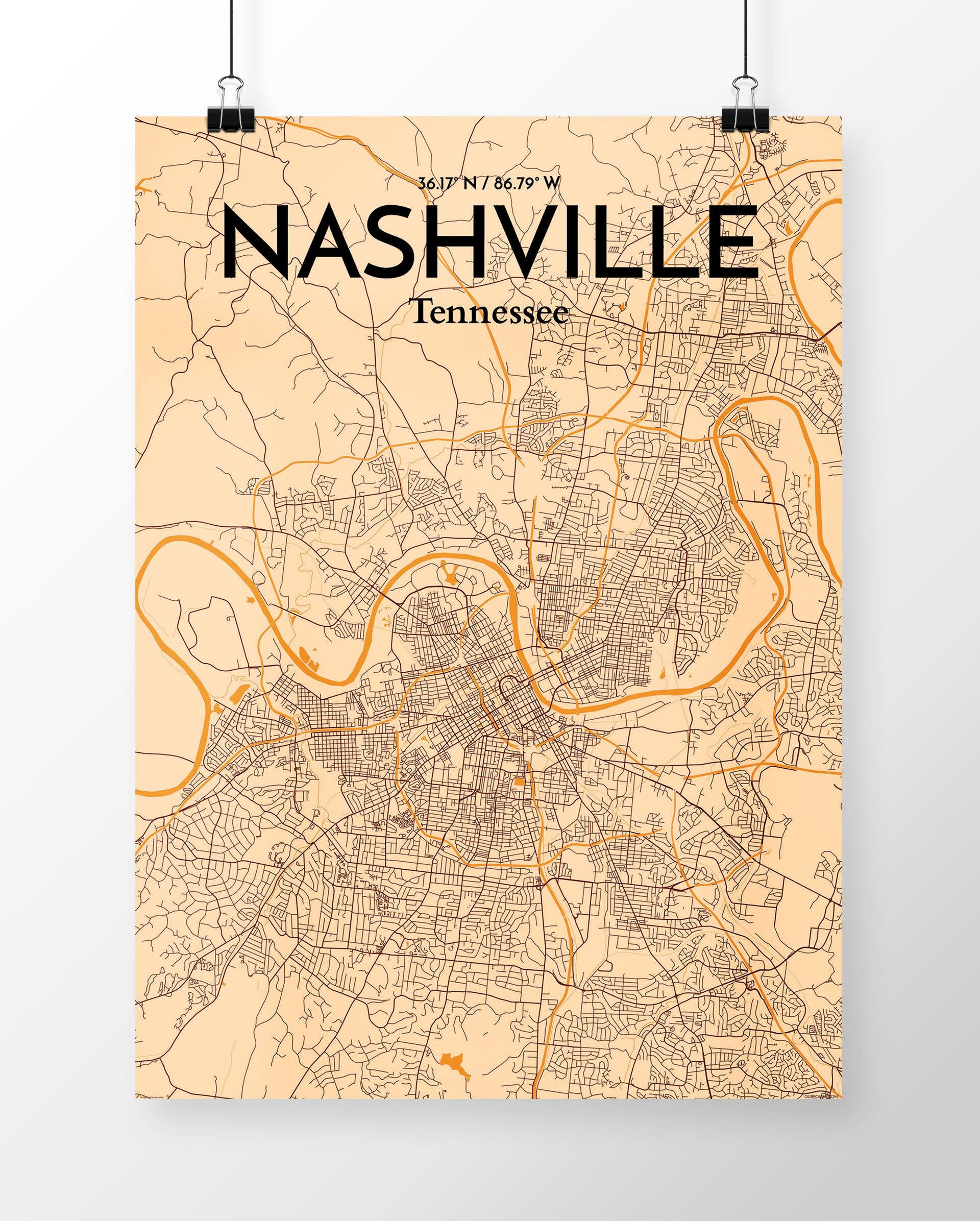 Wrought Studio \'Nashville City Map\' Graphic Art Print Poster in ...