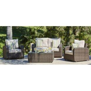 Perillo 4 Piece Sofa Set with Cushions
