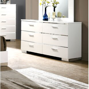 Ricka 6 Drawer Double Dresser with Mirror