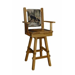Towerside 30 Barnwood Swivel Bar Stool With Fabric Back and Scoop Seat With Arms (Set of 2)