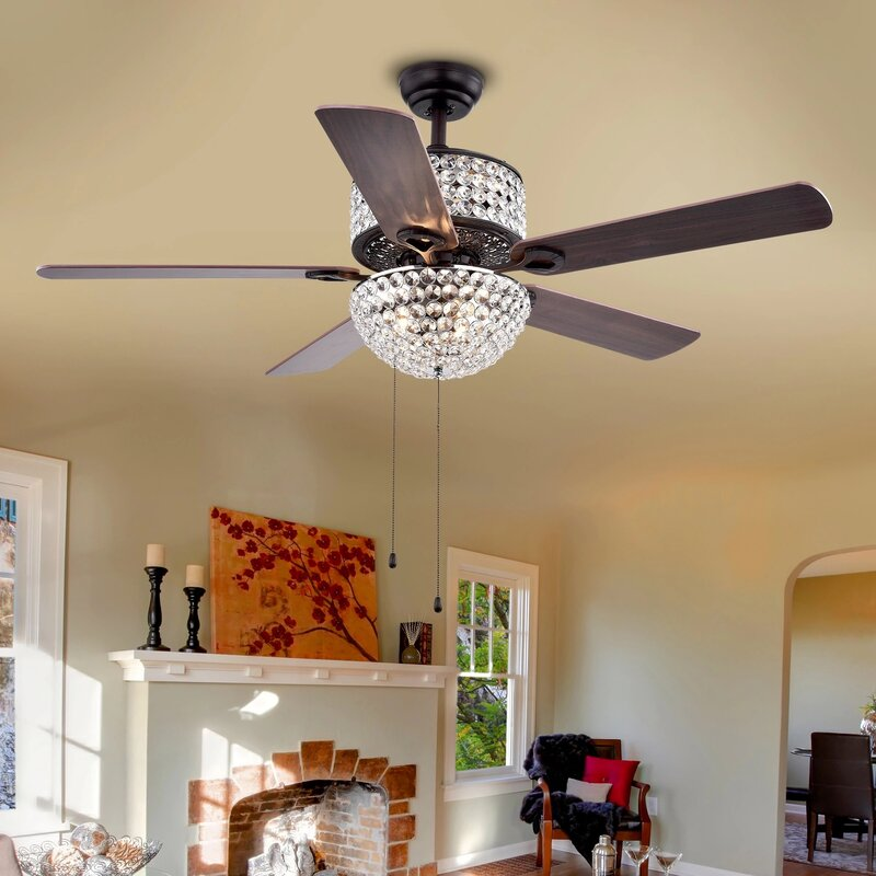 52 Caruthersville Crystal 6 Light 5 Blade Ceiling Fan