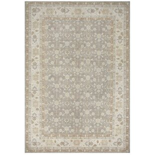 Pishawar Tabriz Hand-Knotted Wool Gray Area Rug By Pasargad NY