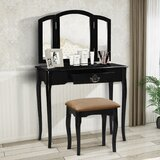 Hanscom Vanity Set with Stool and Mirror by Canora Grey