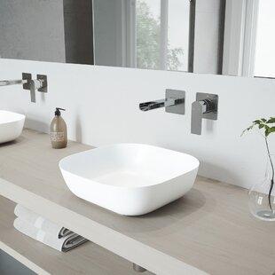 Price Check Camellia Stone Square Vessel Bathroom Sink with Faucet By VIGO