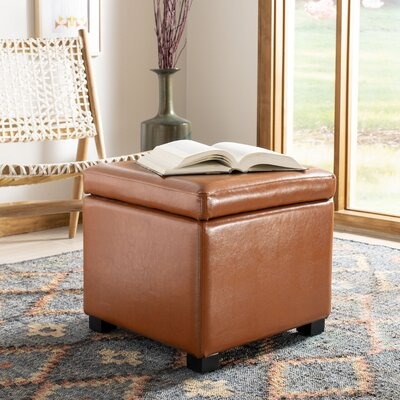 Terrific Safavieh Jonathan Leather Storage Ottoman Color Saddle Gmtry Best Dining Table And Chair Ideas Images Gmtryco