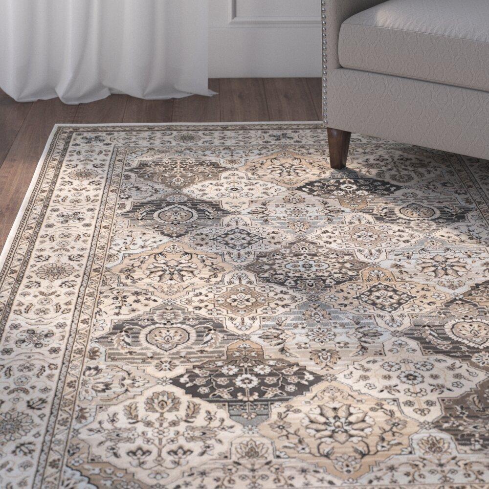 Charlton Home Petronella Oriental Ivory Area Rug Reviews Wayfair