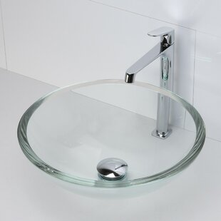 Look for Translucence Anani Glass Circular Vessel Bathroom Sink ByDECOLAV