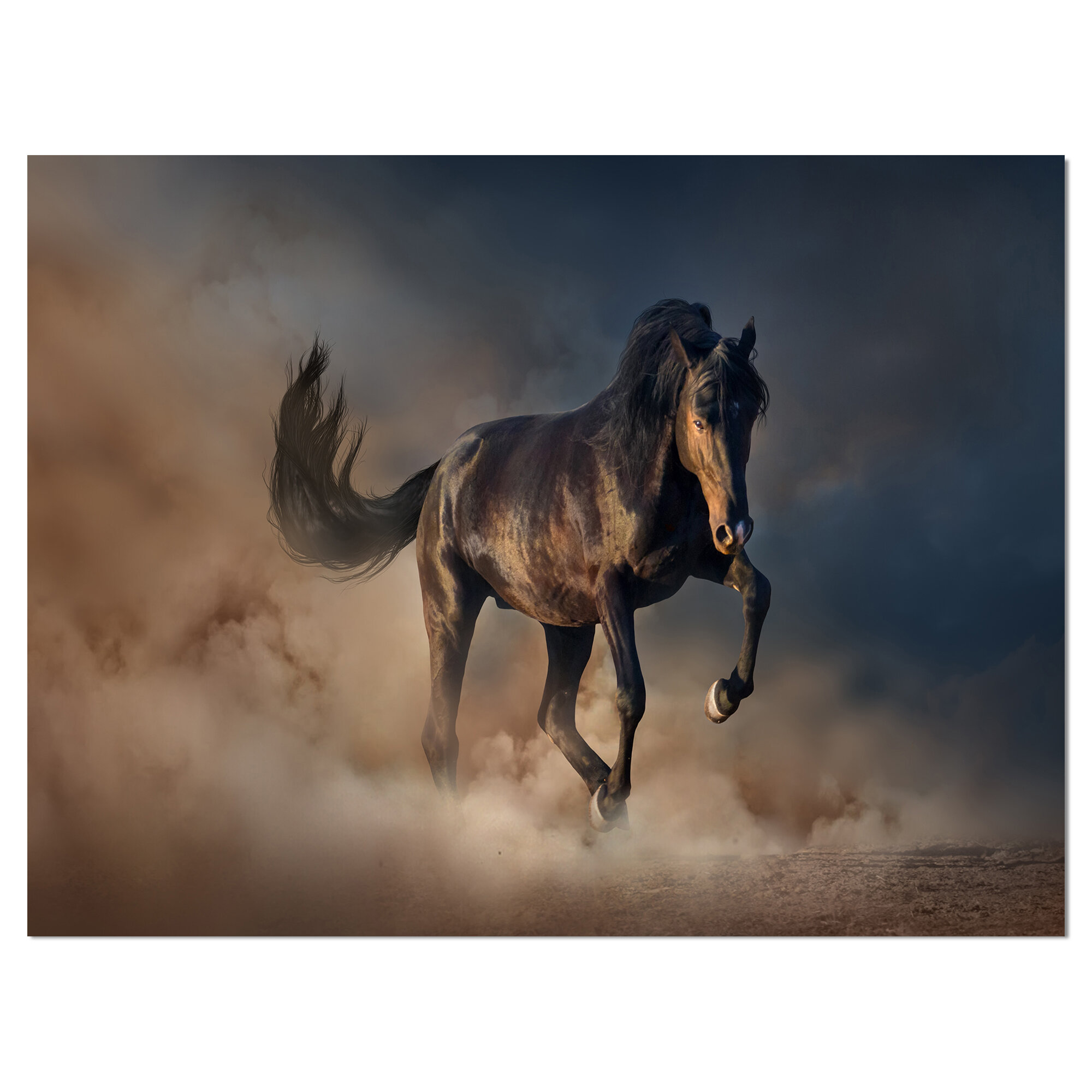 East Urban Home Black Stallion Horse Running Wild Photographic Print On Wrapped Canvas