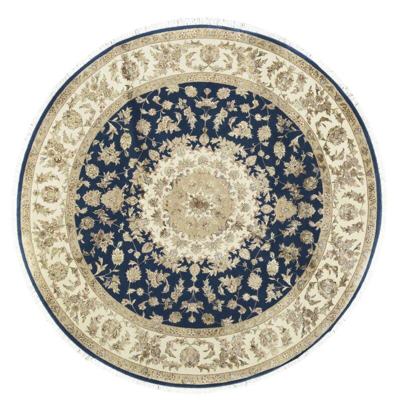 Bokara Rug Co., Inc. One-of-a-Kind Walton Select Handwoven Round 8 Beige/Blue Area Rug