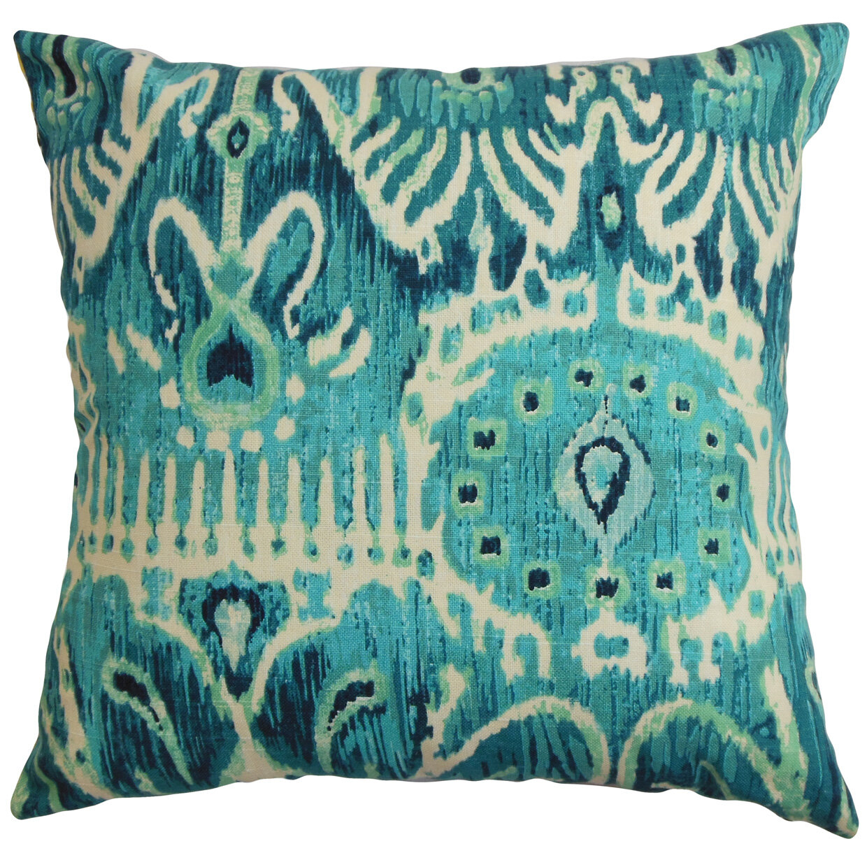 Bloomsbury Market Delron Ikat Cotton Throw Pillow Cover Wayfair