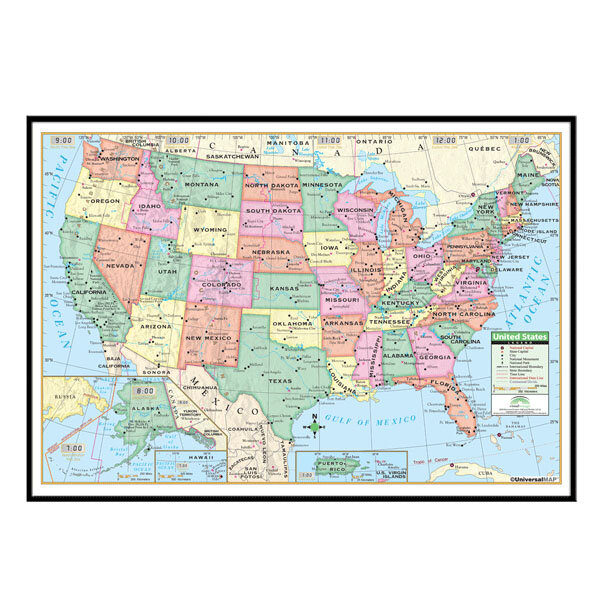 Universal Map United States Primary Mounted Framed Wall Map | Wayfair