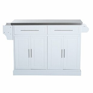 Love Storage Cabinet Kitchen Cart with Stainless Steel Top by Ebern Designs