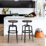 Martins Swivel Adjustable Height Bar Stool (Set of 2) by Williston Forge