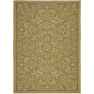 Short Light Green/Tan Indoor/Outdoor Area Rug