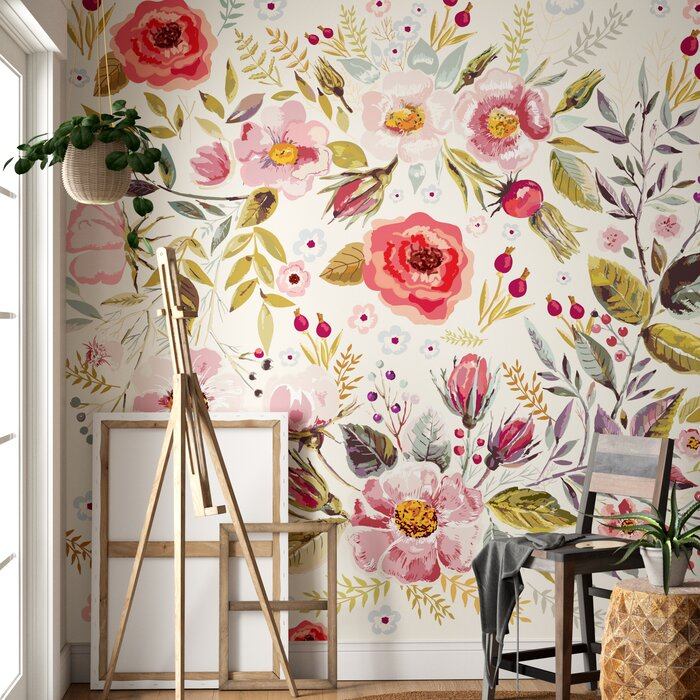 Mandalay Removable Vintage Berries Flowers 8 33 L X 100 W Peel And Stick Wallpaper Roll
