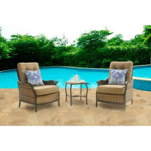 Dimaggio 3 Piece Rattan 2 Person Seating Group with Cushions