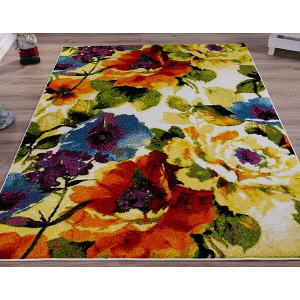 Winston Porter Osterman Floral Yellow Green Area Rug Reviews Wayfair