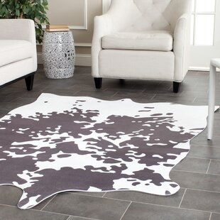 Faux Hide Hand Tufted Gray White Area Rug