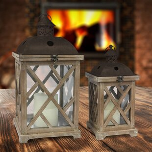 Gracie Oaks Ironwood 2 Piece Wood Lantern Set