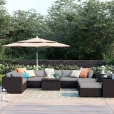 Fernando 13 Piece Rattan Sectional Seating Group with Cushions by Sol 72 Outdoor™
