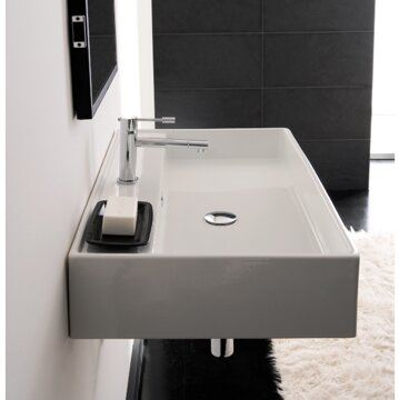 "Bathroom Sinks That Mount On The Wall scarabeonameeks teorema 32"" wall mounted bathroom sink with"