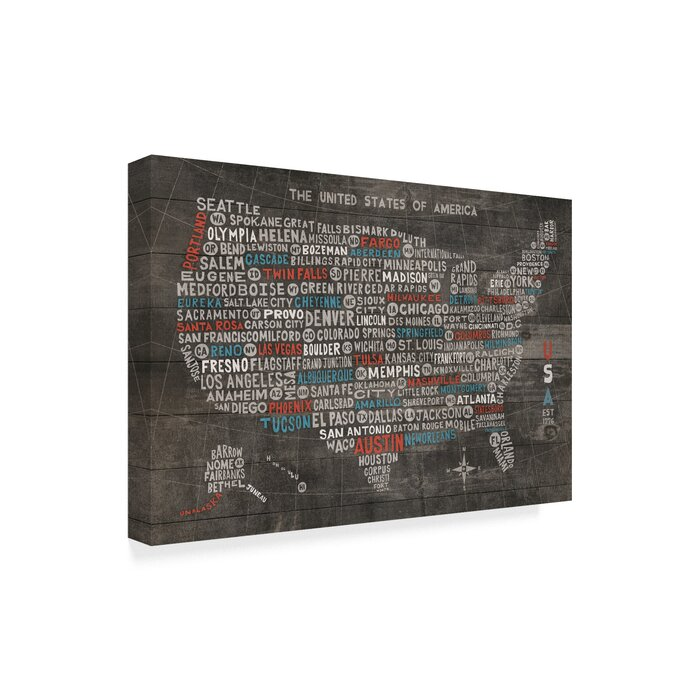 'US City Map on Wood Gray' Textual Art on Wrapped Canvas Aberdeen Map Of Cities In Washington State on map of mount baker washington, map of europe, map of wa, best climate cities washington state, map of washington cities, map of scotland,