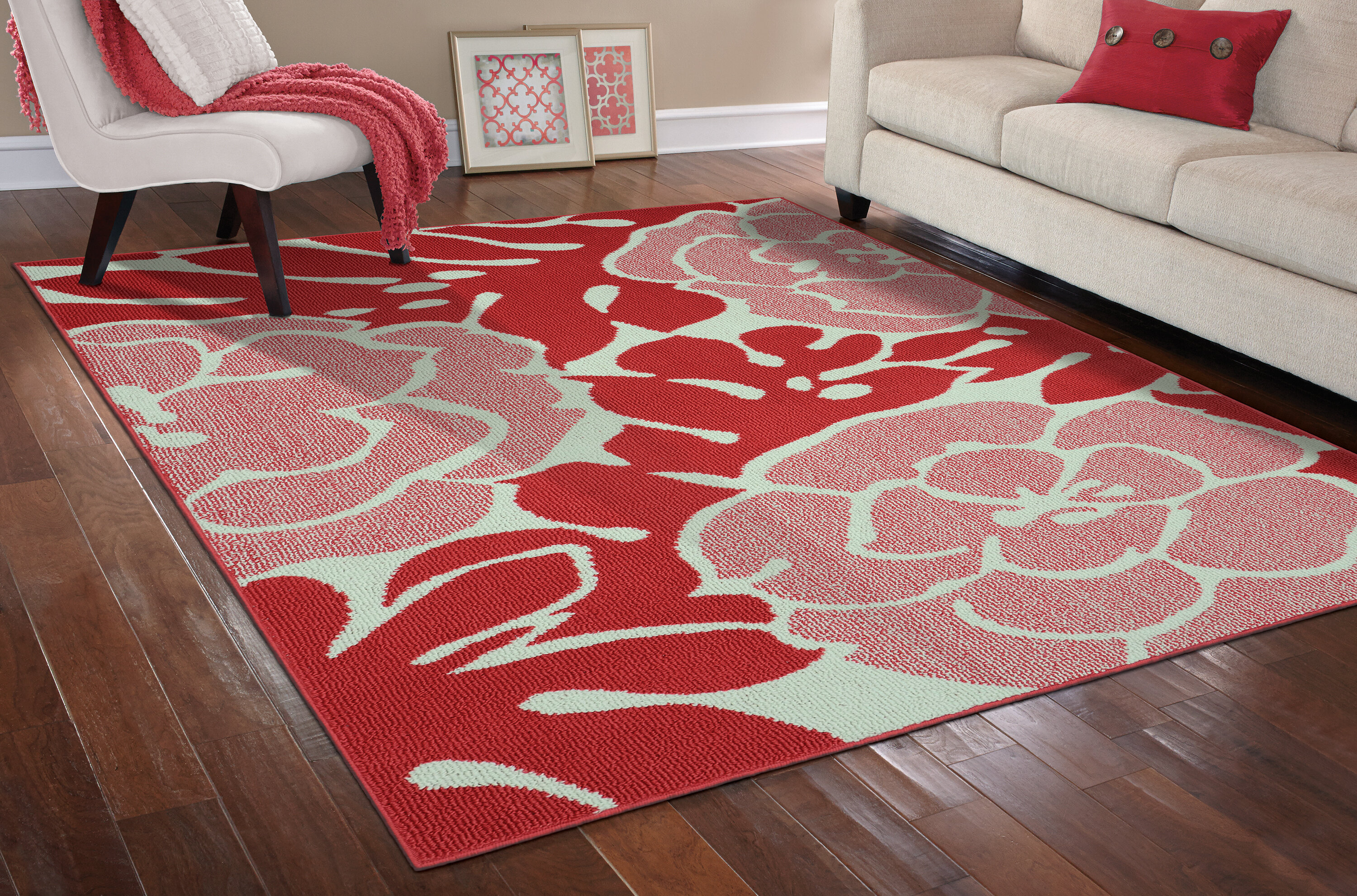 Wrought Studio Stackhouse Floral Tufted Coral Ivory Area Rug Reviews Wayfair