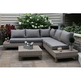Huntleigh Eucalyptus and Wicker 4 Piece Sectional Seating Group with Cushions by Brayden Studio