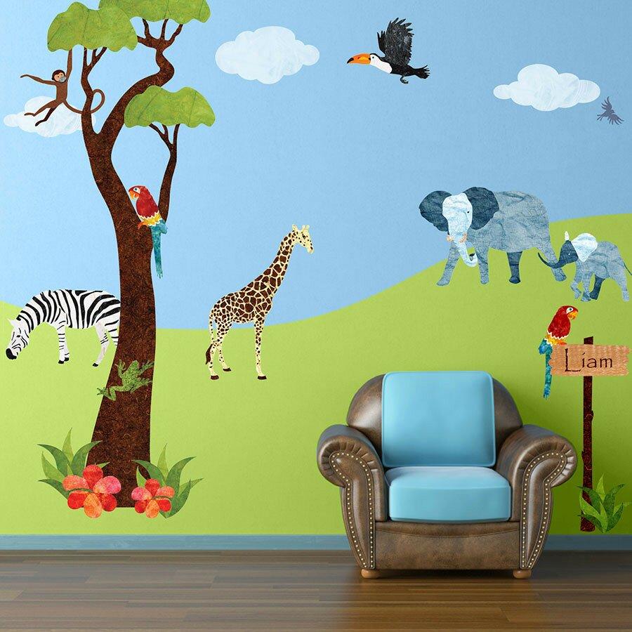 Safari wall murals wall murals ideas my wonderful walls jungle safari wall mural reviews amipublicfo Gallery