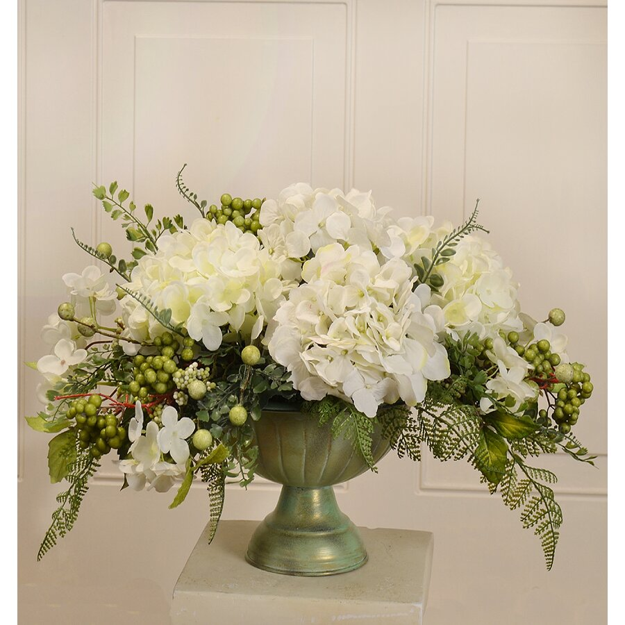 Floral home decor silk hydrangea centerpiece in bowl