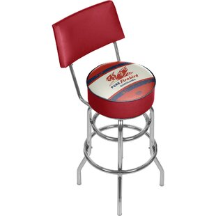 Pure Oil Vintage Swivel Bar Stool with Back Trademark Global
