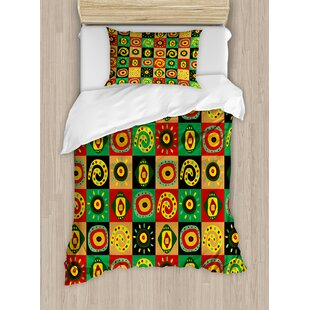 African Tribal Primitive Abstract Figures with Trippy Shapes Culture Hieroglyph Artsy Print Duvet Set by East Urban Home