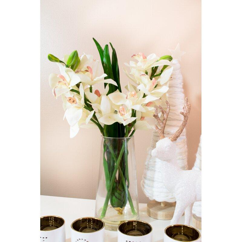 Andover Mills Cymbidium Orchid In Vase Reviews Wayfair