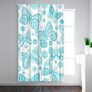 Rebecca Prinn Butterflies Blackout Rod Pocket Single Curtain Panel by East Urban Home