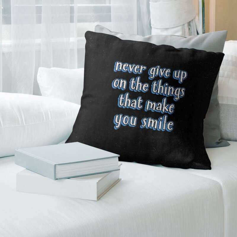 East Urban Home Joy And Perseverance Quote Chalkboard Style Pillow Wayfair