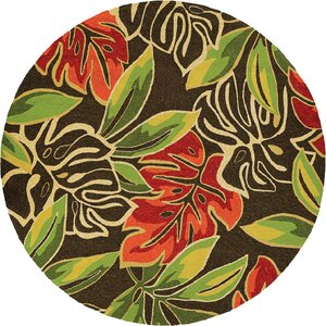 Mariann Areca Palms Hand-Woven Dark Brown/Green Indoor/Outdoor Area Rug