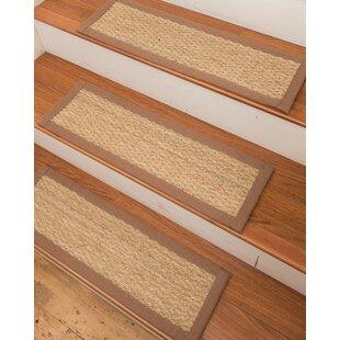 Half Panama Seagrass Carpet Beige Stair Treads (Set Of 13)